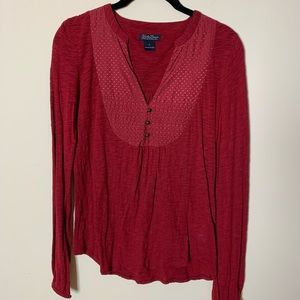 Lucky Brand Cranberry Long Sleeve Size Small